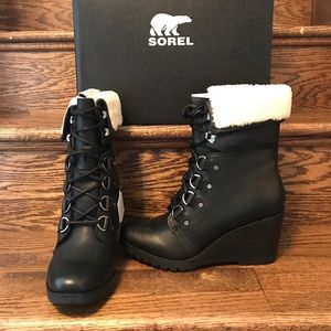 Sorel After Hours Shearling Wedge Boot